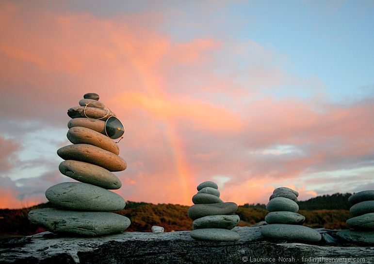 Rocks on the beach at sunset