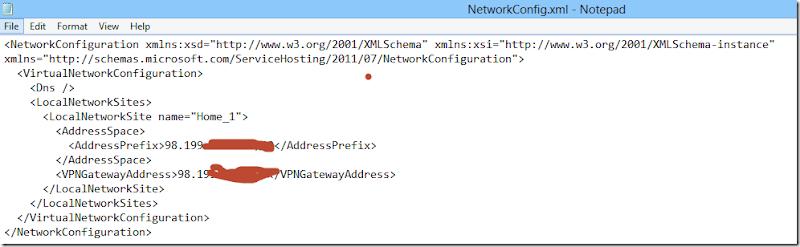 Windows Azure–XML Schema Validation Error in Network Configuration