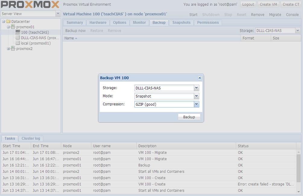 Proxmox VE中虛擬機器的備份與還原/ Virtual Machine Backup & Restore
