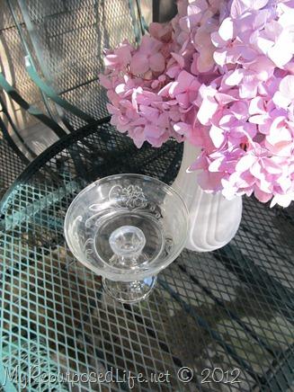 repurposed glassware (soap dish)