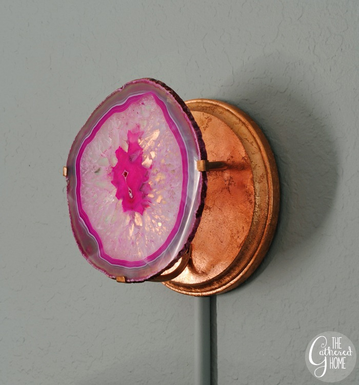 DIY agate slice and copper wall sconces   www.thegatheredhome.com