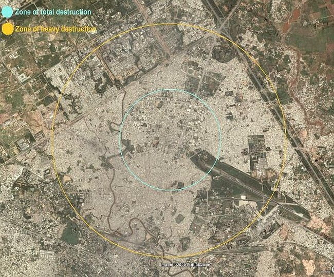 Visualising a hypothetical scenario where a 50 kt Nuclear weapon explodes over Pakistan's garrison town, Rawalpindi