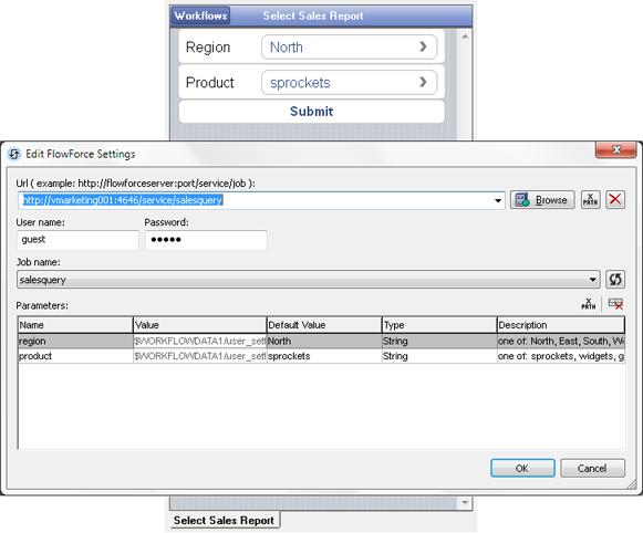 Defining a FlowForce Server data integration job as a data source in MobileTogether