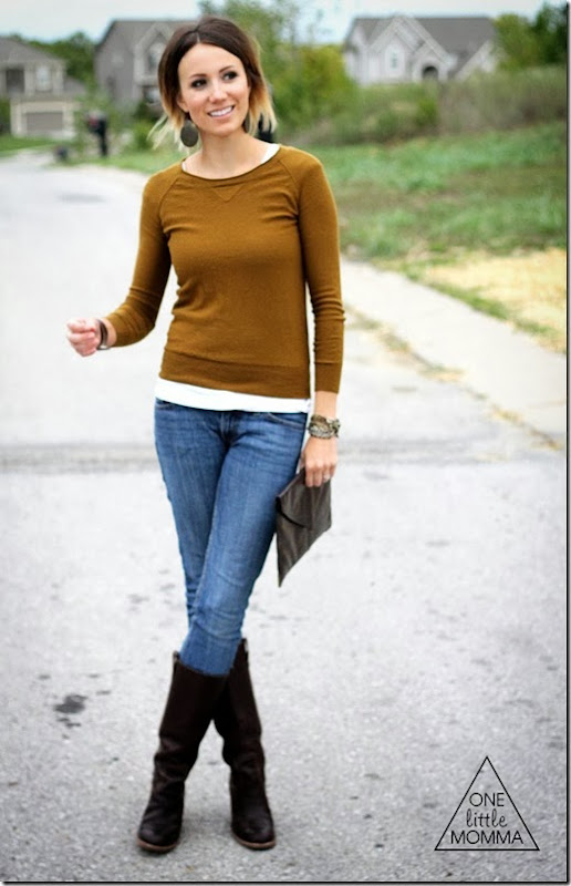 Hazel sweater  paired with chocolate leather
