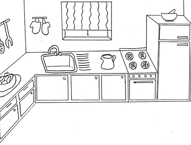 Kitchen Room 4 Buildings And Architecture Printable Coloring