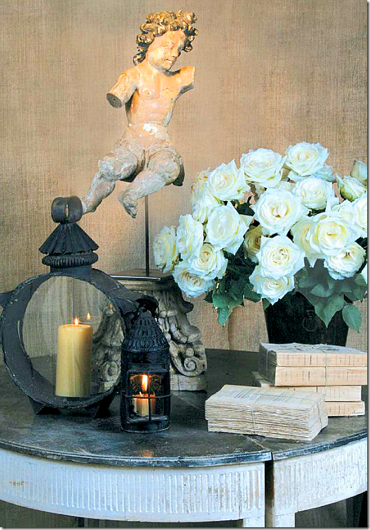 Beautiful European country vignette by Jane Moore for an ad running in Antique Shops and Designers.