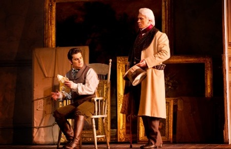 Saimir Pirgu (left) as Alfredo in Verdi's LA TRAVIATA at the Royal Opera House, Covent Garden, with Dmitri Hvorostovsky (right) [Photo by Johan Persson; used with permission]