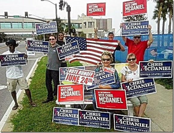 spending Election Day waving signs and urging people to head to the polls to vote for Chris McDaniel