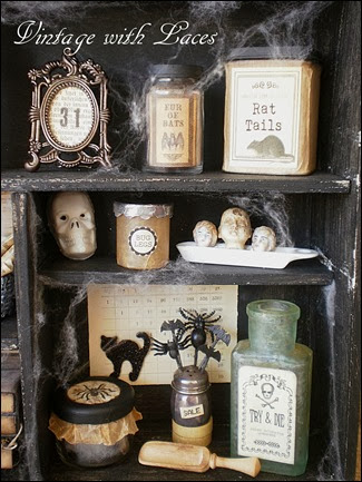 vintage  laces witch maybel   apothecary cabinet