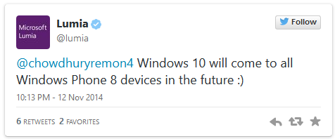 Windows 10 will come to all Windows Phone 8 devices in the future