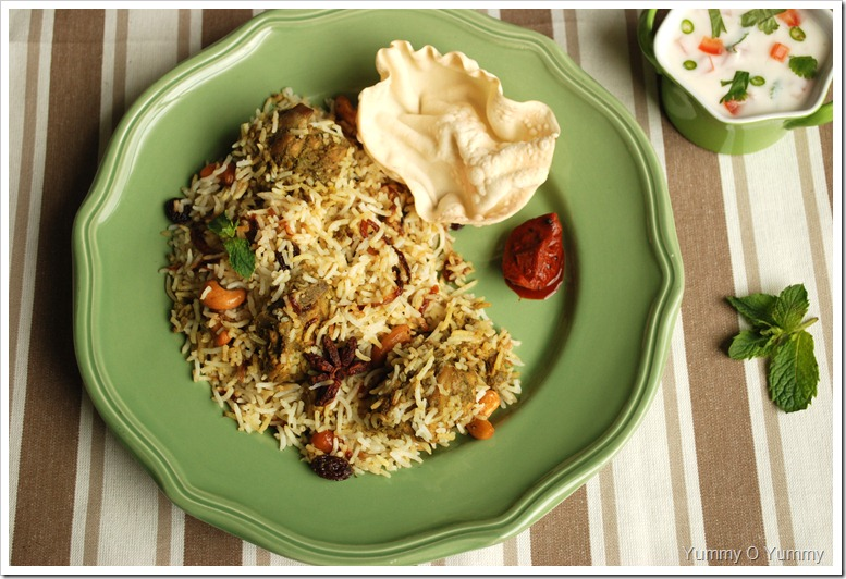 Chicken Biriyani with Mint and Cilantro