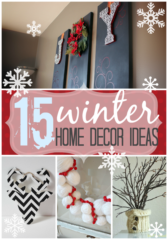15 winter home decor ideas at GingerSnapCrafts.com #diy #homedecor #winter #linkparty #features