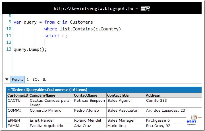 mrkt 的程式學習筆記: 練習題- LINQ Contains 操作與ArrayList