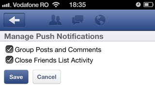 Facebook for iOS push notifications settings
