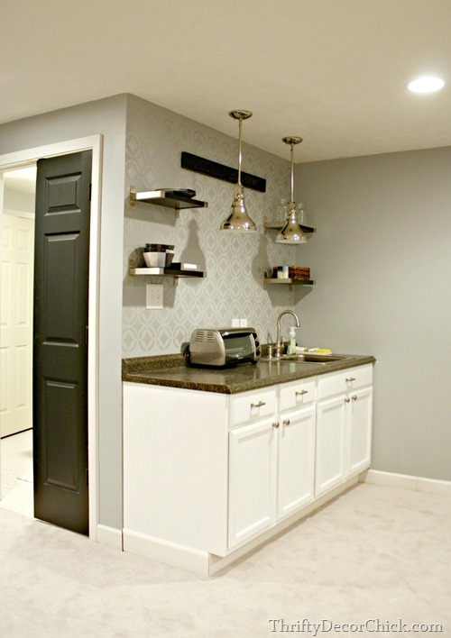 basement kitchenette shelving