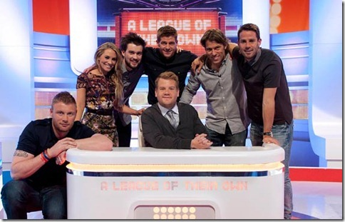 A League Of Their Own Series 5 Episode 1 -  Host James Corden and guests Jack Whitehall, Andrew Flintof, Georgie Thompson, Steven Gerrard, Jamie Redknapp and John Bishop ©Sky1/Justin Downing RX7 March 2012
