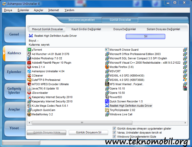 Ashampoo Uninstaller Türkçe Full