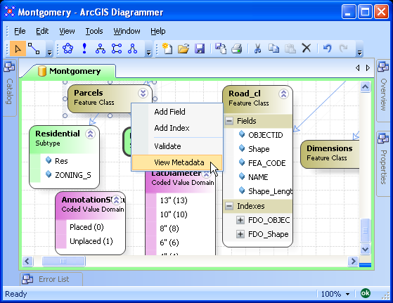 after clicking view metadata, a new tab is added to arcgis diagrammer  by  default the raw metadata xml is displayed
