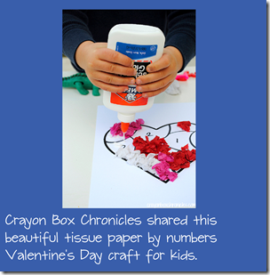 Tissue Paper by Number Valentine's Day Crafts for Kids