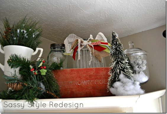 christmas decor above cupboard finished with crate