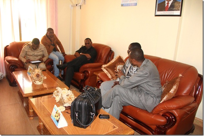 Mbowe with party leaders at VIP lounge