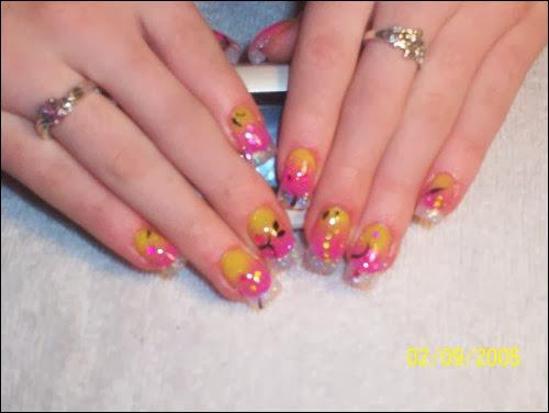 Pink And Yellow Nail Designs Nail Designs Hair Styles