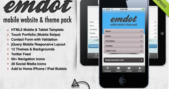 Premium HTML Templates for Mobile Devices: Emdot - Mobile