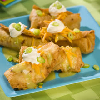 Chicken Chimichangas with Green Sauce.