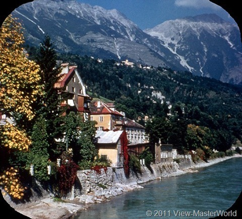 View-Master Austria (B198), Scene 18: Inn River, Tyrolean House, and Hungerburg Plateau