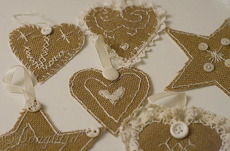 Songbird Burlap Ornaments 2