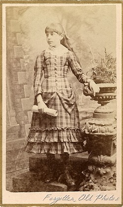 Young girl plaid dress front CdV DL Antiques