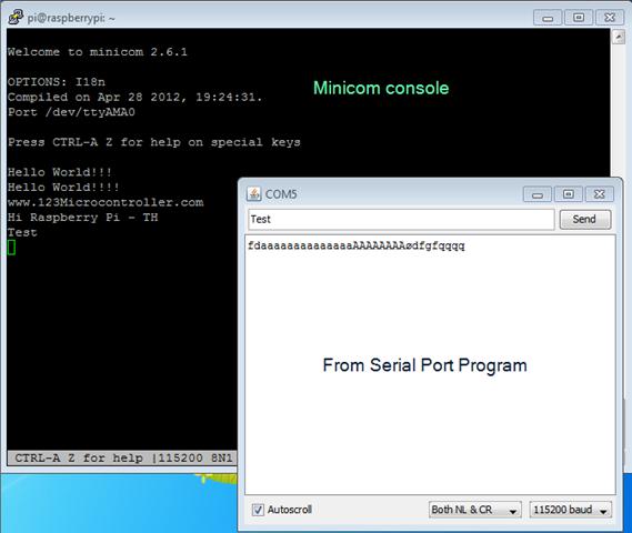 Raspberry Pi TH: minicom - friendly serial communication program