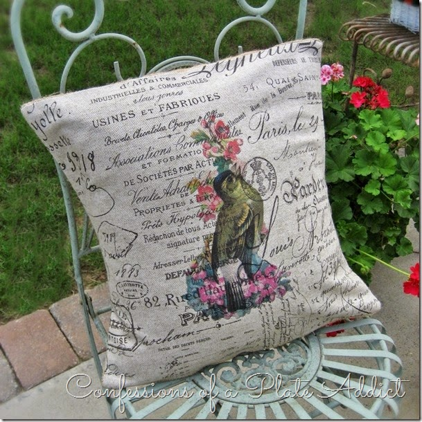 CONFESSIONS OF A PLATE ADDICT DIY Vintage French Script Bird Pillow