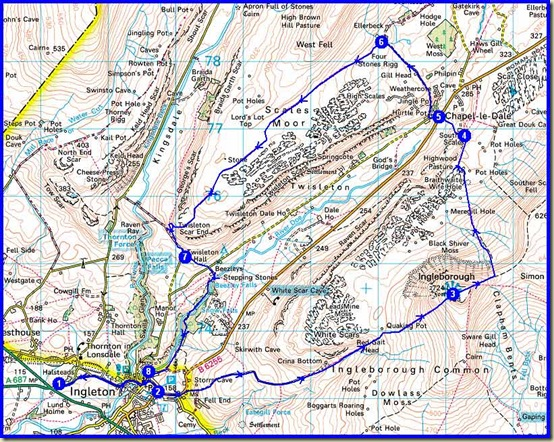 Our Ingleborough route - 22.5 km, 900 metres ascent, 7 hours approx