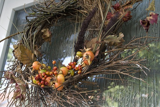 Fall Twig Wreath with Orange Decorations