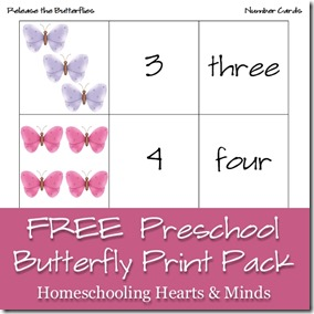 Free Preschool Butterfly Printables @Homeschooling Hearts & Minds