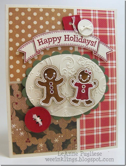 LeAnne Pugliese WeeInklings Merry Monday 106 Gingerbread Christmas Card Stampin