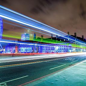 London At Its Best by Nachau Kirwan - City,  Street & Park  City Parks ( london eye, bus, night photography, london, colorful, colors, long exposure, big ben, river thames,  )