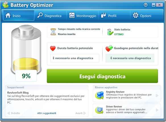 Battery Optimizer Esegui diagnostica