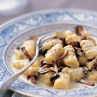 Gnocchi with Mushrooms and Gorgonzola Sauce.