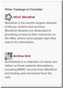 Fumanysearch. catalog links to WorldCat and Archive Grid