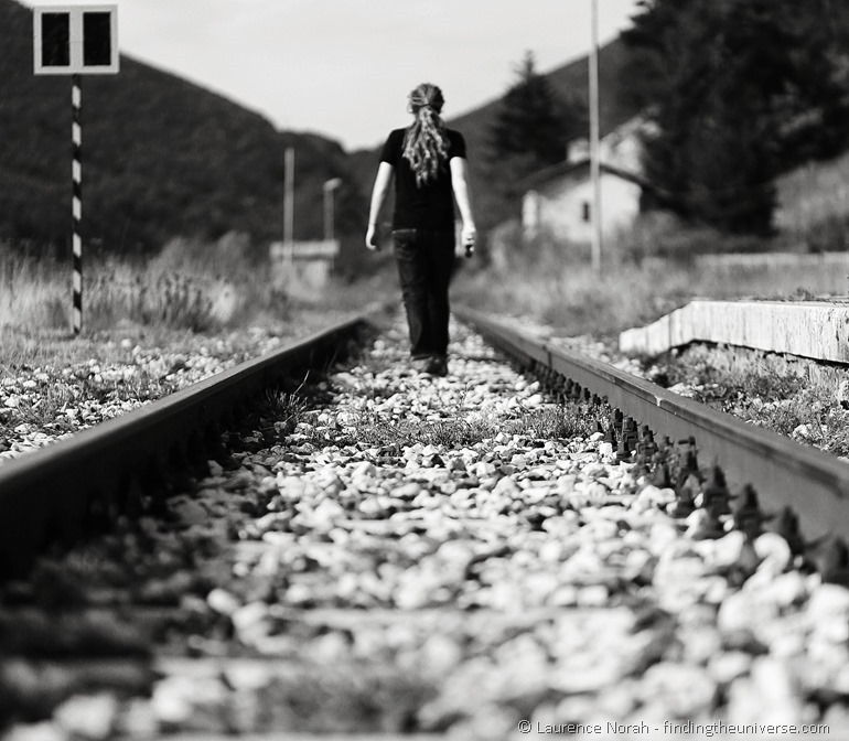 Laurence walking on train tracks Molise Italy