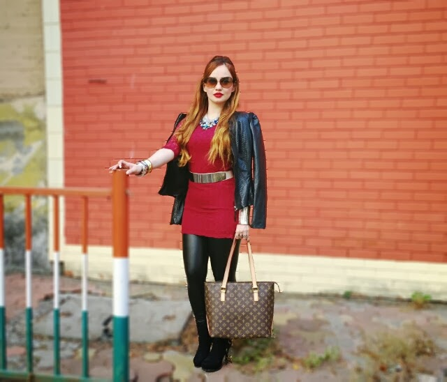 Oxblood Lace Dress, Leather Leggings & Leather Jacket