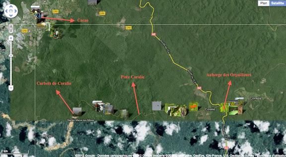 Localisation des photos : Cacao, Piste de Coralie et Auberge des Orpailleurs