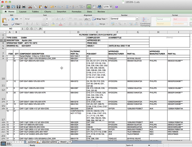 Figure 1 - Excel spreadsheet to be converted to HTML code