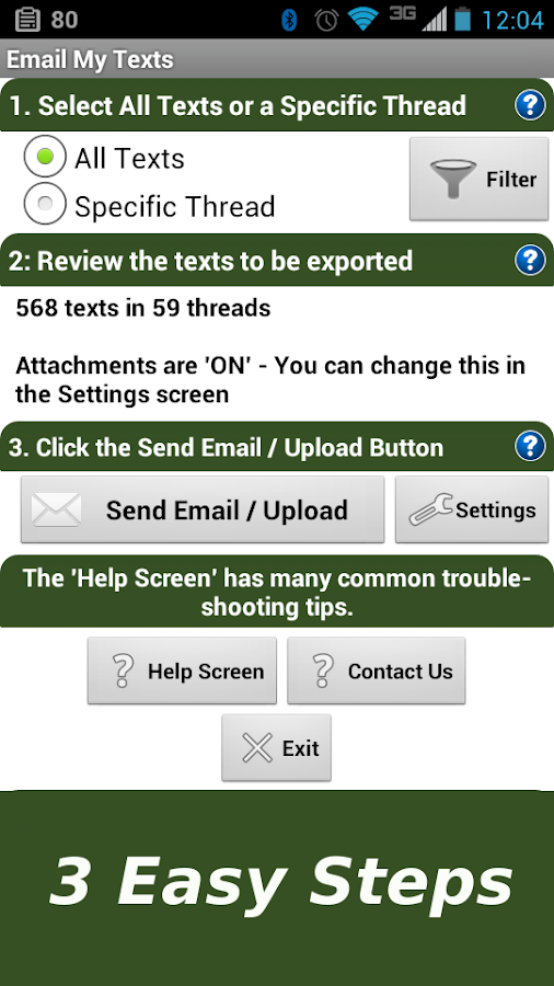 Email My Texts - screenshot
