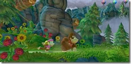 Donkey Kong Country Tropical Freeze, Dixie e Donkey na floresta