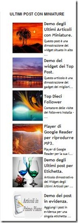 widget ultimi post con miniature