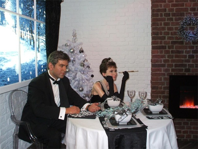 George Clooney and Audrey Hepburn models at Madame Tussauds