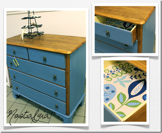 Milk paint and walnut dresser via Nostalgia